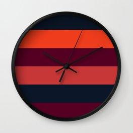 Maroon orange navy stripes Wall Clock