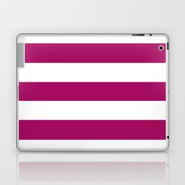 Jazzberry jam -  solid color - white stripes pattern Laptop & iPad Skin