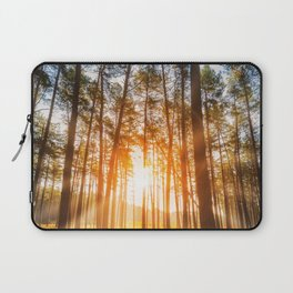 sunset behind trees in forest landscape - nature photography Laptop Sleeve