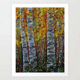 Autumn Aspen Trees with a Palette Knife Art Print