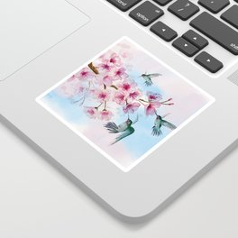 Cherry Blossom and Hummingbirds Sticker