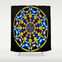 sacred geometry Shower Curtains featuring Zodiac Sacred Geometry by Aurum Lux