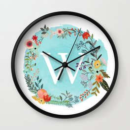 Personalized Monogram Initial Letter W Blue Watercolor Flower Wreath Artwork Wall Clock