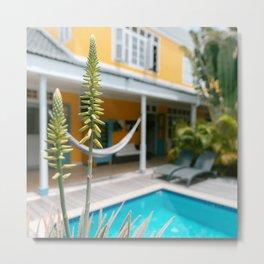 Fine art print tropics I Green Yellow I Curacao I Caribbean colors I pietermaai I Travel photography print I Hammock Metal Print