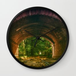 Railroad Track Through The Tunnel Wall Clock