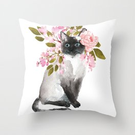 cat with flower crown Throw Pillow