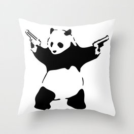 Panda, Banksy, Graffitti Throw Pillow