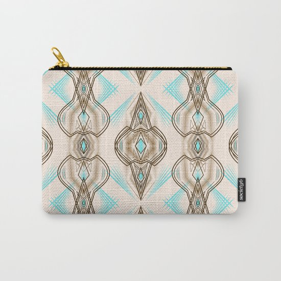 Art Deco . Turquoise brown white . Carry-All Pouch