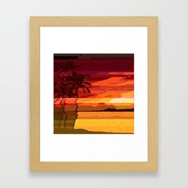 Tropical Glitchset Framed Art Print