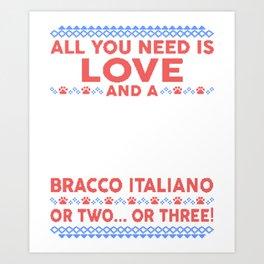 Bracco Italiano Ugly Christmas Sweater Art Print