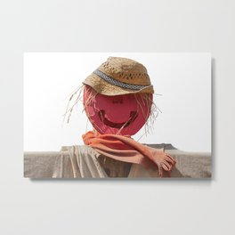 funny scarecrow in the farm Metal Print