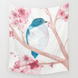 Blue Bird and Blossoms Wall Tapestry