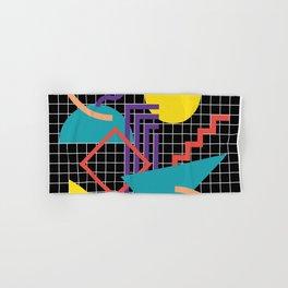 Memphis Pattern - 80s Retro Black Hand & Bath Towel