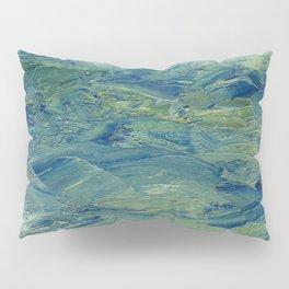 Abstract Blue Green Waves of Aqua Ocean Blue Mountains Pillow Sham