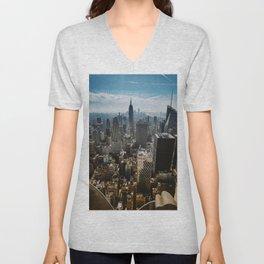 NYC skyline views Unisex V-Neck