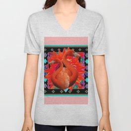 PINK ART DECO FLAMINGO  RED FLOWERS BLACK ART Unisex V-Neck