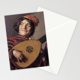 Frans Hals - Luitspelende Nar - Jester with a Lute - Renaissance Fine Art Retro Vintage Oil Painting Stationery Cards