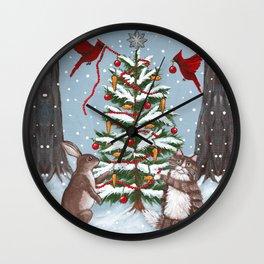 Rabbit and Cat Christmas Tree Wall Clock