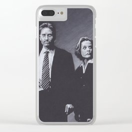 Original Charcoal Drawing of Dana Scully and Fox Mulder Clear iPhone Case