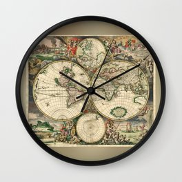 Old map of world hemispheres. Created by Frederick De Wit, published in Amsterdam, 1668 Wall Clock