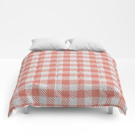 Salmon Buffalo Plaid Comforters