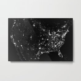 The Lights of the USA (Black and White) Metal Print