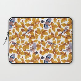 Eurasian jay birds seamless pattern with golden oak leaves and nuts Laptop Sleeve