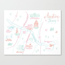 Austin, Texas Illustrated Calligraphy Map Canvas Print