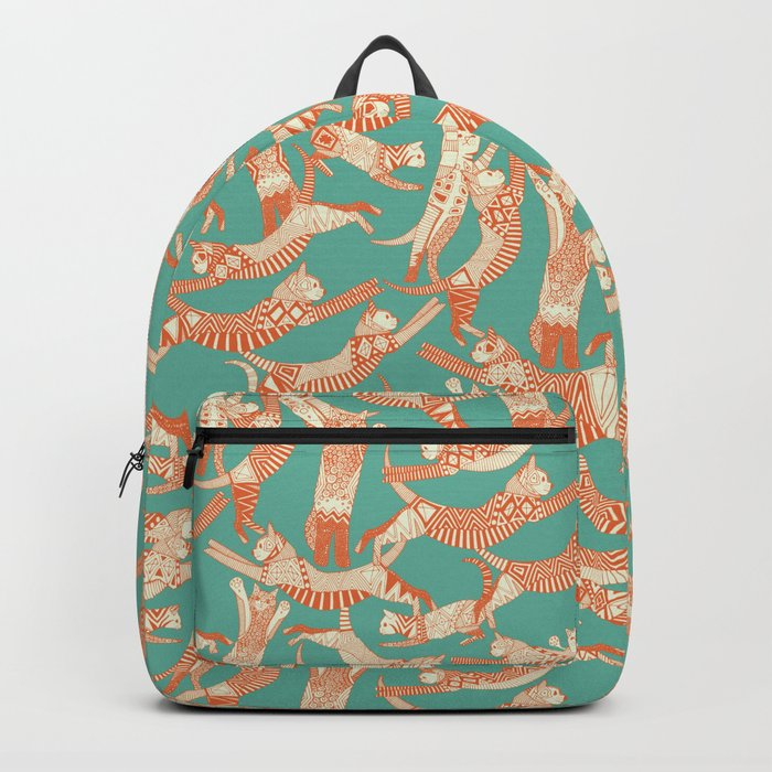 cat party jade orange Backpack