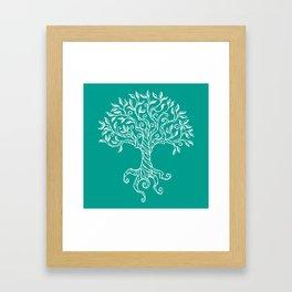 Tree of Life Teal Framed Art Print