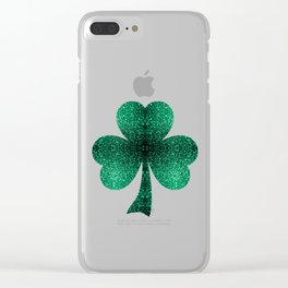 Beautiful Emerald Green glitter sparkles Clear iPhone Case