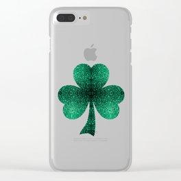 Beautiful Emerald Green glitter sparkles Clear iPhone Case