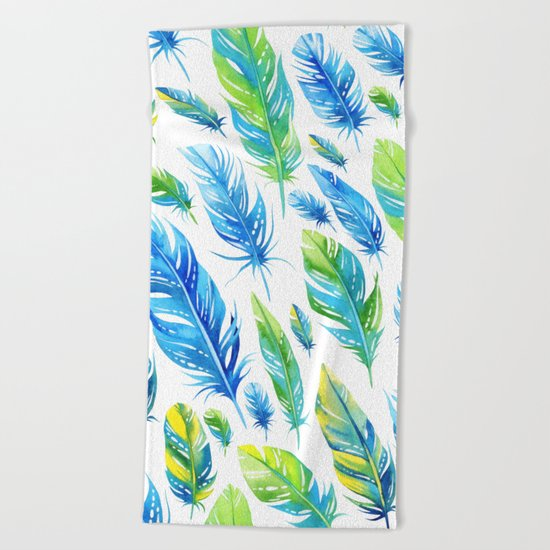 Feathers Pattern 03 Beach Towel