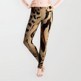 wildlife brown black tan cheetah leopard safari animal print Leggings