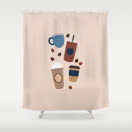 Coffee Love - Brown and blue palette Shower Curtain