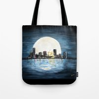 milwaukee Tote Bags featuring Milwaukee Night by Kristiekoz