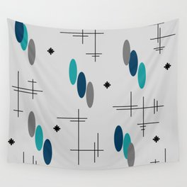Ovals and Starbursts Teal Wall Tapestry