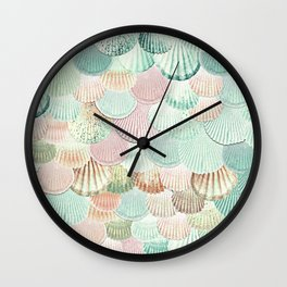 MERMAID SHELLS - MINT & ROSEGOLD Wall Clock