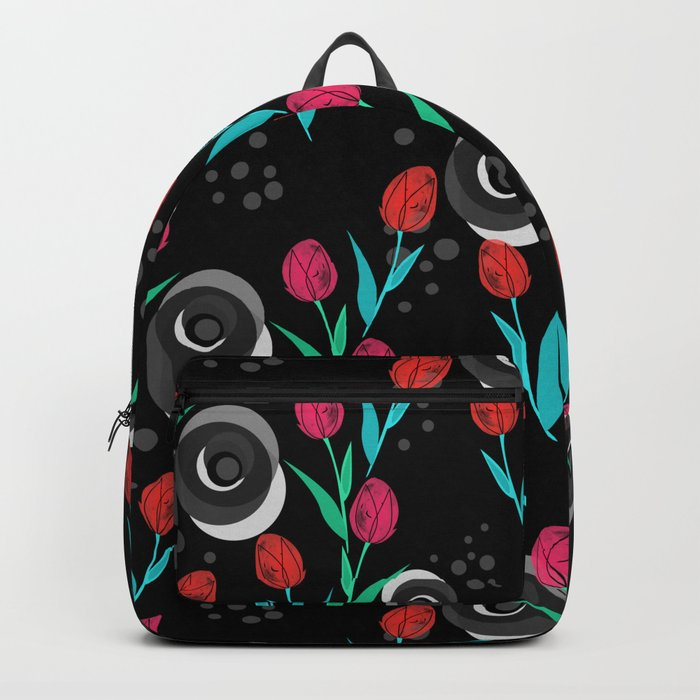 Abstract floral pattern tulips. Black background . Backpack