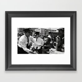 John Lewis being arrested by police during civil rights protest Framed Art Print