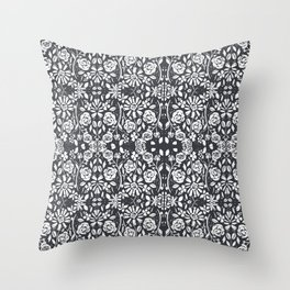 Monochromatic Floral Throw Pillow