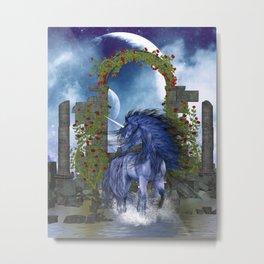 Blue Unicorn 2 Metal Print