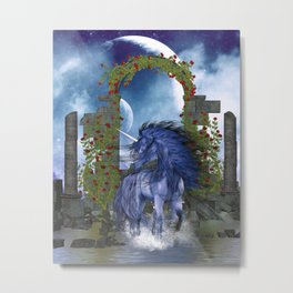 Blue Unicorn 2 Metal Print