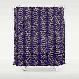 Navy Blue Wheat Grass Shower Curtain