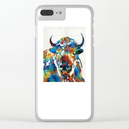 Colorful Buffalo Art - Sacred - By Sharon Cummings Clear iPhone Case