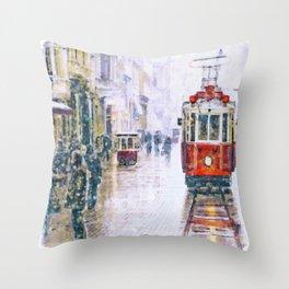 Istanbul Nostalgic Tramway Throw Pillow