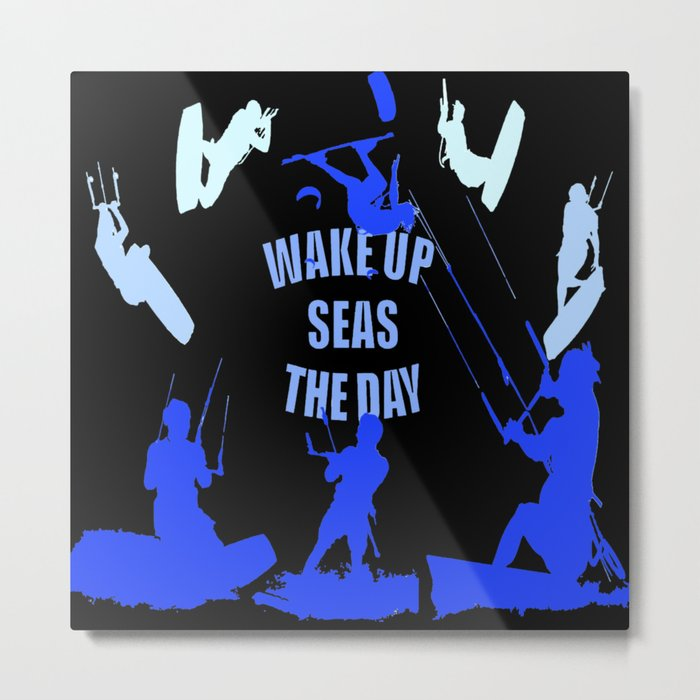 Wake Up Seas The Day Kiteboarder Royal Blue Metal Print