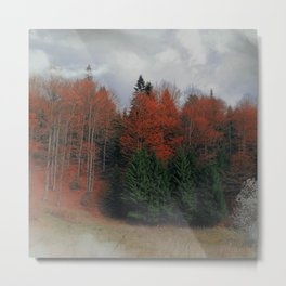 October Forest Red Green Metal Print