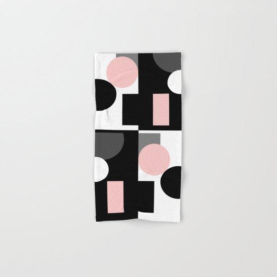 An abstract geometric pattern . Geometric shapes . Black pink white pattern . Hand & Bath Towel