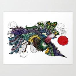 Peacock Riot Art Print